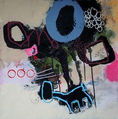 """Nadine Bourgne - """"la tête dans l'eau"""", technique mixte sur toile 50x50 - 2013 (collection privée)"""