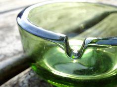 #Green Ashtray Vintage Glass #jazzjodi, $12.00 #Etsy