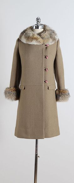 ➳ vintage 1960s coat  * olive wool * coyote fur trim * satin lining * button front  condition | excellent  fits like medium  length 34 bodice