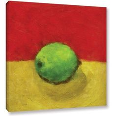 ArtWall Kevin Calkins Lime with Red and Gold Gallery-Wrapped Canvas, Size: 36 x 36