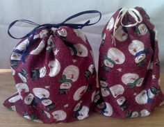 2 Fabric Gift Bags Snowmen  Upcycled Reusable by debupcycles, $8.00