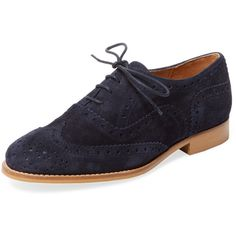 Marabelle Women's Wingtip Oxford - Dark Blue/Navy - Size 5 (520 HRK) ❤ liked on Polyvore featuring shoes, oxfords, navy leather shoes, navy oxfords, wing tip shoes, leather shoes and lace up oxfords