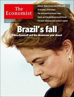 """Você que votou e vota no PT, é diretamente responsável por isto... """"Dilma Rousseff e o desastroso ano que vem pela frente"""", diz a nova edição da revista britânica """"The Economist"""". Uma foto da presidente em pose cabisbaixa, sob a frase """"A Queda do..."""