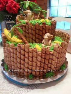 Monkey Around Baby Shower Cake... This website is the Pinterest of birthday cake ideas: