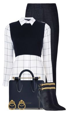 """Alice+Olivia Lucinda layered shirt"" by cassandra-cafone-wright ❤ liked on Polyvore featuring Tory Burch, Alice + Olivia, Strathberry and Nine West"