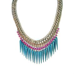 Necklace Statement in Turquoise Fuchsia Spike by BluKatDesign