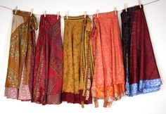 Each skirt is gorgeous with it's own style they are 80% silk and 20% polyester