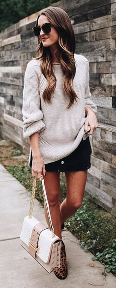 fashion trends / knit oversized sweater + skirt + bag + printed boots