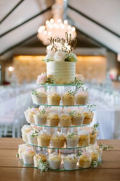 Cupcake Tower with a One Tier Cutting Cake | Illuminate Photography on @SouthBoundBride via @aislesociety
