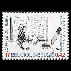 Timbre Belge. Chat lisant un livre.