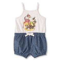 Disney� Newborn Girls' Bambi Romper - Blue/Cream