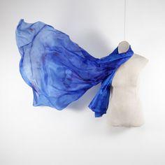 Royal blue silk scarf /  Bright blue shawl   /  by CeliaEtcetera
