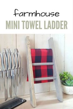 I love this mini farmhouse style ladder. It's such a cute way to hang your towels. In the kitchen and bathroom. Cute idea. #affiliate #kitchen #storage #mini #ladder #rack #bathroomideas