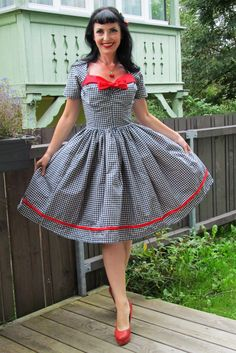Pinup dress 'Out to Town' gingham dress navy by PinupDollWardrobe