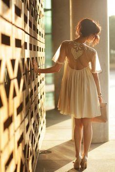Lace back romantic dress