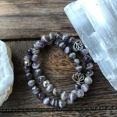 Dogtooth Amethyst Beaded Stretch Bracelet for Intuition, Inner Wisdom and Spiritual Protection
