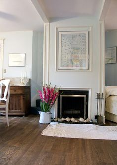 Pretty pale blue living room: 'Seafoam' by Benjamin Moore Benjamin Moore Ocean Air, Benjamin Moore Colors, Living Room Colors, My Living Room, Living Room Designs, Blue Living Room Paint, Pale Blue Walls, Aqua Walls, White Walls