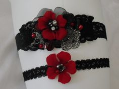 Yes, I know... but, it's my wedding; I can do what I want :)  Black and red Garter setMini sash Garter Flower by yanethandco