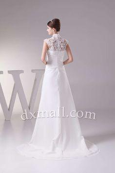 A-line Wedding Dresses High Neck Court Train Chiffon Satin Ivory 010010101525