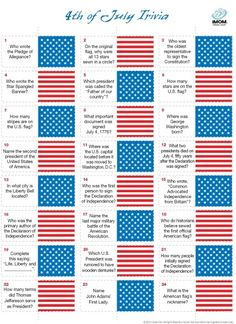 Forth of July Trivia game -- free printable, great idea to have while waiting for the fireworks!