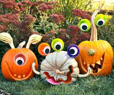 Boo-tiful Beasts Stretch your creativity beyond simple carving and add playful eyes and gourds to this year's pumpkin crop for some silly monsters. Craft alien eyes from clear ornament halves and crafts foam.