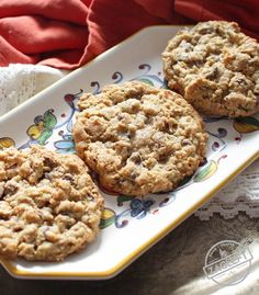 Laura Bush's Cowboy Cookies, also known as Texas Governor's Mansion Cookies - these famous jumbo cookies are filled with oats, chocolate chips, pecans, and coconut and are spectacular! You'll love this half batch recipe for these soft and chewy cookies. Pecan Cookies, Coconut Cookies, Oatmeal Chocolate Chip Cookies, Chocolate Chips, Yummy Cookies, Small Batch Cookie Recipe, Cowboy Cookie Recipe, Strawberry Recipes, Four