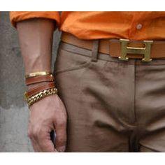 Hermes belt, leather + gold
