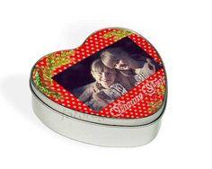 scatola in latta a cuore Bacche natalizie