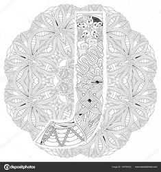 Mandala with letter J for coloring. Vector decorative zentangle — Stock Illustration