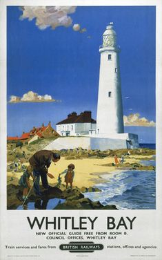 British Railways BR produced this poster in 1951 to help promote train services to Whitley Bay Tyne and Wear The artist has chosen St Marys Island Posters Uk, Train Posters, Images Vintage, Retro Poster, Railway Posters, Vintage Travel Posters, British Travel, British Seaside, British Beaches