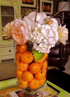 using fruit as a vase filler.