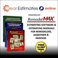 Estimating Software for Remodelers - Try Clear Estimates powered by RemodelMAX and quit the guessing game! Our cloud-based application allows you to quickly determine a project's cost and produce professional reports and proposals that will impress your clients.