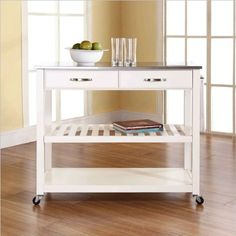 Crosley Furniture Stainless Steel Top Kitchen Cart/Island with Optional Stool Storage in White Finish by Crosley Furniture, http://www.amazon.com/dp/B0072VZ5XC/ref=cm_sw_r_pi_dp_KuVurb16PJVTM