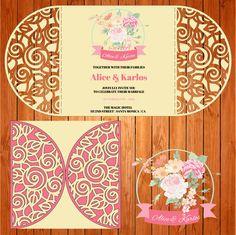 Invitación de la boda tarjeta plantilla, arabescos, hojas, flores, figuras (studio V3, svg) lasercut descarga inmediata Silhouette Cameo de thehousedesigns en Etsy