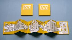 Notice how the perspective of the buildings works with the folds in the paper - - - 3-color silkscreen accordion book