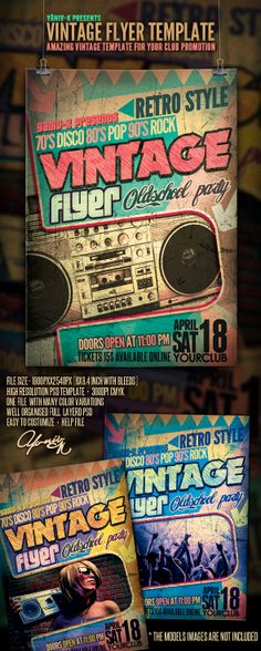 Retro Style Club Flyers  Retro Style Flyers And Style