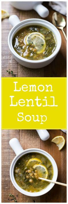 Lemony Lentil & Green Soup- a nourishing and flavorful soup made with just 5 ingredients! (vegan + gluten-free) **sub veggie broth detox soup lentil Lentil Recipes, Soup Recipes, Vegetarian Recipes, Cooking Recipes, Healthy Recipes, Lemon Lentil Soup Recipe, Lemon Soup, Garlic Soup, Cooking Tips