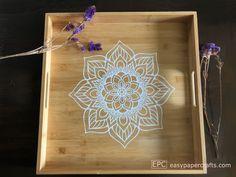 Make a beautiful DIY Boho Mandala Tray decal with ordinary contact paper.