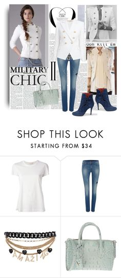 """Military Chic"" by lavendergal ❤ liked on Polyvore featuring Dondup, Lee, River Island, Azules, Furla and Balmain"