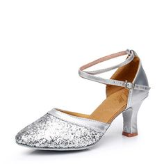 [US$ 16.99] Women's Leatherette Sparkling Glitter Heels Ballroom With Ankle Strap Dance Shoes (053107725)