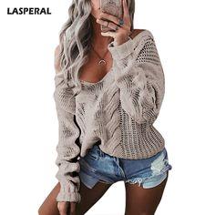 d407cda6cdb050 LASPERAL Winter Sexy Deep V-Neck Twist Knitted Sweaters Women Long Sleeve  Off Shoulder Sweater Femme 2017 Autumn Outwear Sweater