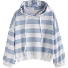 Wide Striped Dropped Shoulder Seam Drawstring Hooded Sweatshirt (21 AUD) ❤ liked on Polyvore featuring tops, hoodies, sweatshirts, blue, striped sweatshirt, blue hoodies, blue sweatshirt, blue hooded sweatshirt and pullover hoodie