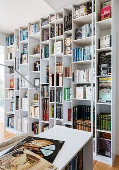 here is a modern twist on floor-to-ceiling billy storage - DigsDigs