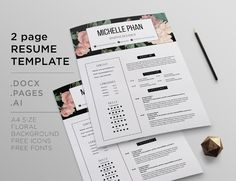 Elegant  Page Cv Template   Page Resume By Chictemplates