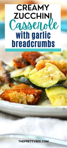 Everyone's favorite summer veggie is perfect dressed up with a creamy sauce and a crunchy breadcrumb topping. This easy gluten free vegan casserole is sure to be a hit at your next party! Vegan Casserole, Zucchini Casserole, Casserole Dishes, Beef Dishes, Vegan Dishes, Savory Rice, Gluten Free Sides Dishes, Side Dish Recipes, Side Dishes