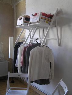 Folding Chair to Shelf/Closet Unit