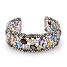 Trebol Collection by Andrea Candela, Gemstone Cuff Bracelet, in Sterling Silver and 18kt Yellow Gold