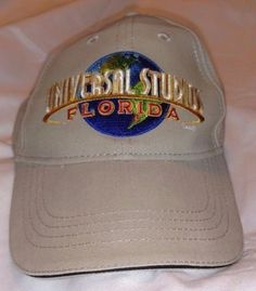 UNIVERSAL-STUDIOS-FLORIDA-Hat-Velco-Adjustable-Baseball-Cap-Beige-Earth-Blue