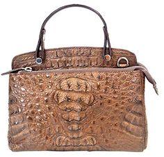 Authentic M Crocodile Skin Womens Zippers W/Strap Shoulder Bag Hobo Sz.S Handbag (Dark Brown)