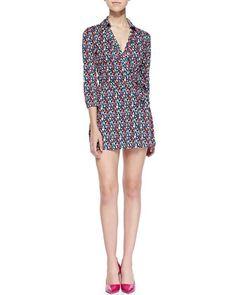 Celeste Printed Wrap Skort Jumpsuit by Diane von Furstenberg at Neiman Marcus.